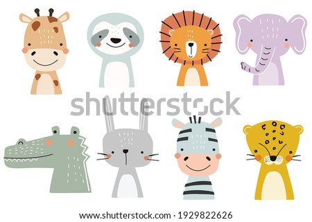 Set of cute designer animals on white background. Vector illustration for printing on fabric, postcard, wrapping paper, book, picture, Wallpaper. Cute baby background. Photo stock ©