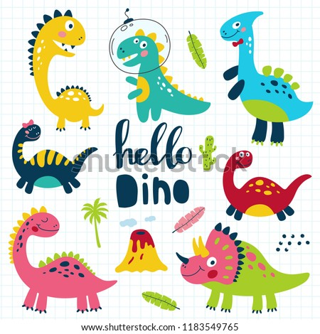 set of cute dinosaurs for