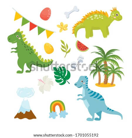 Set of cute dinosaurs isolated on white background. Kids illustration. Funny cartoon Dino collection and prehistoric elements. Tropical leaves, volcano, dino eggs.