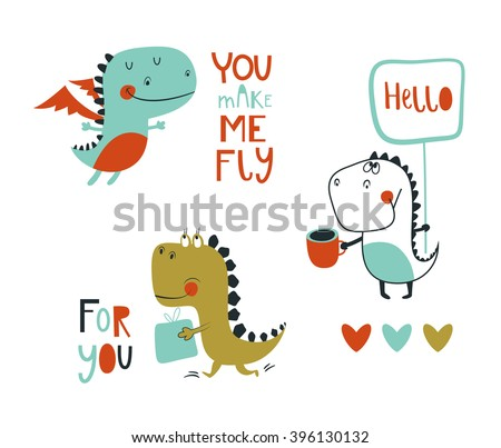 set of 3 cute dinosaurs vector