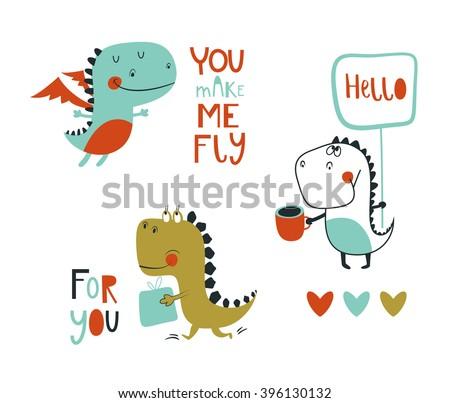 set of 3 cute dinosaurs vector