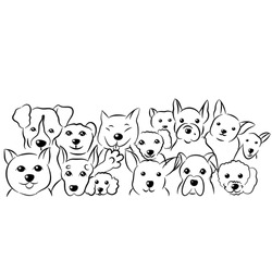 Set of cute dogs doodles,hand drawn sketch illustration on white background.