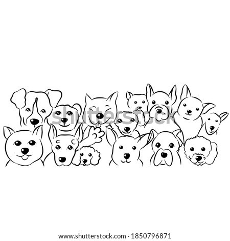 Set of cute dogs doodles,hand drawn sketch illustration on white background. stock photo