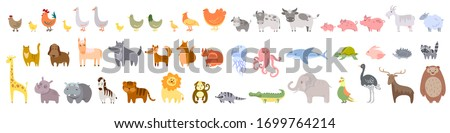 Set of cute domestic and wild animals, animals of the ocean and Africa Vector stock illustration White isolated background Farm bird cow bull calf pig goat sheep cat dog horse wolf fox  squirrel tiger
