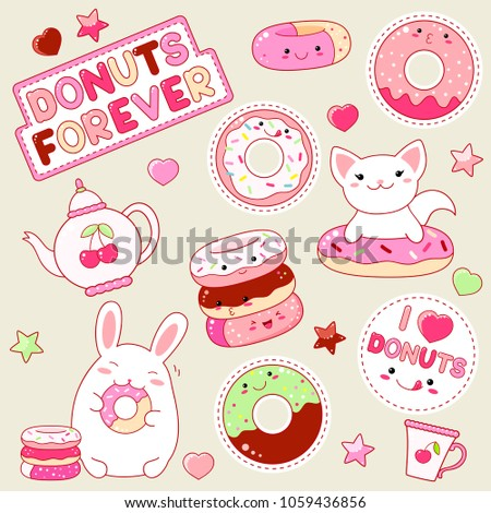 Set of cute donut icons in kawaii style with smiling face and pink cheeks for sweet design. Sticker with inscription I love donuts and Donuts forever. Bunny, cat, teapot, shiny heart and star. EPS8
