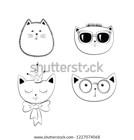 Stock Photo Set of cute doodle cats. Hand drawn cat faces. Funny animal character