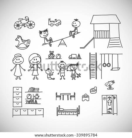 set of cute doodle children