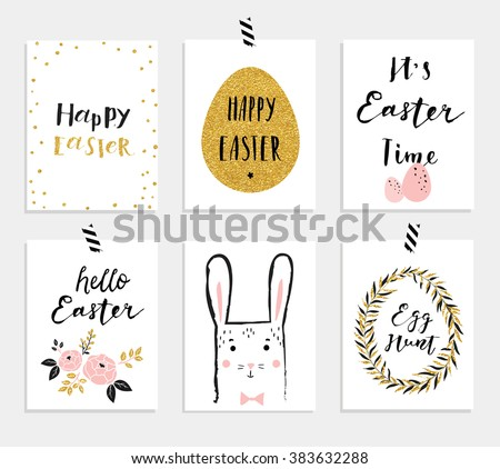 Easter gift tags download free vector art stock graphics images set of 6 cute easter greeting cards template for invitations banners planner negle Choice Image