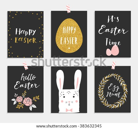 Doodle easter gift tag download free vector art stock graphics set of 6 cute easter greeting cards template for invitations banners planner happy spring illustration negle Image collections