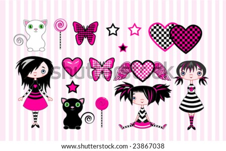 set of cute emo stile girls