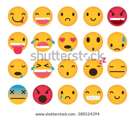 set of cute emoticons isolated