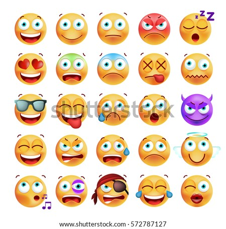 set of cute emoticons on white