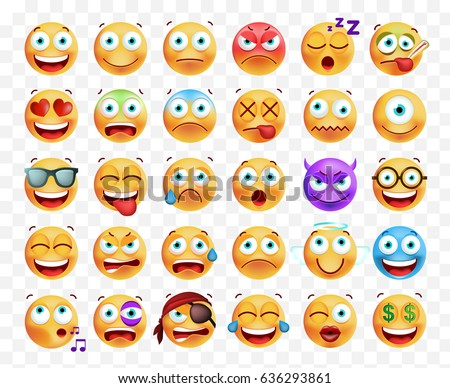 Set of 30 Cute Emoticons on White Background . Isolated Vector Illustration
