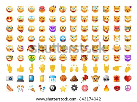 set of 108 cute emoticons on