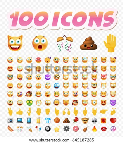 Set of 108 Cute Emoticons on White Background. Isolated Vector Illustration