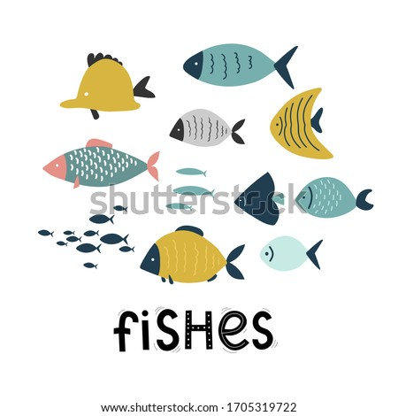 set of cute exotic fish, sea ocean, cartoon lettering vector illustration