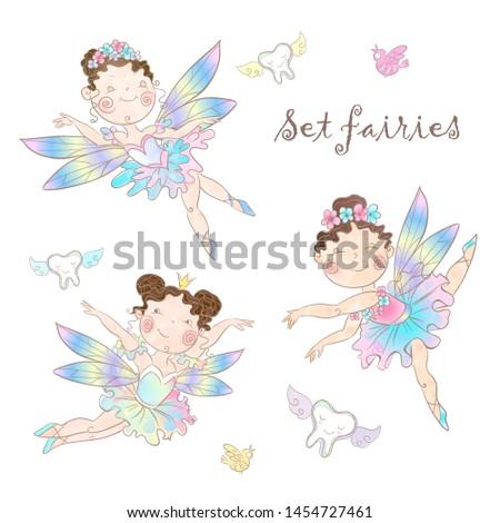 Set of cute fairies. Tooth fairy. Vector illustration.