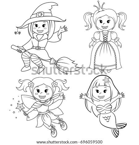 set of cute fairytale girls