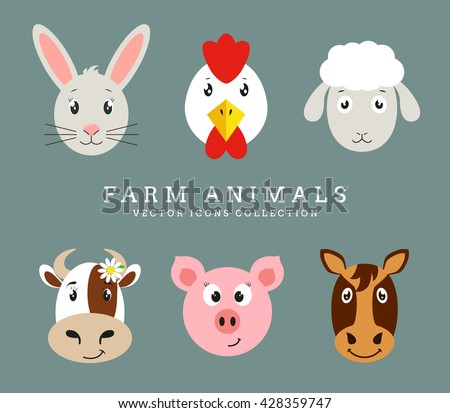 Set of cute farm animals head isolated on clean background. Vector flat icons.