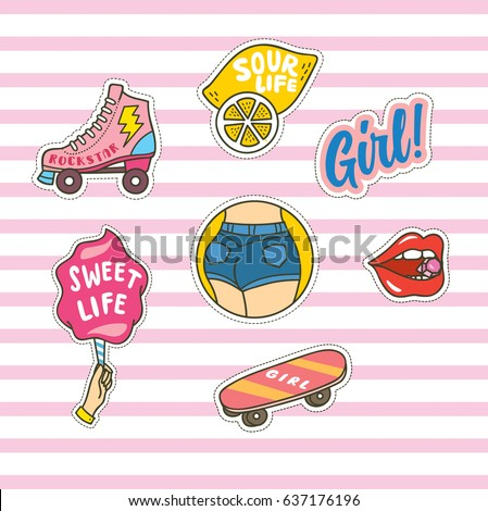 Set of cute fashion patches on pink stripe background