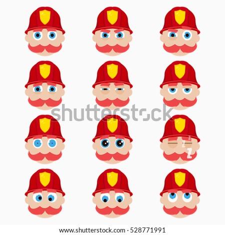 Set of cute firefighter emoticons. Vector illustration.