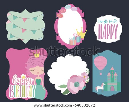 Princess castle rainbow download free vector art stock graphics set of cute frames with flower princess and unicorn for magic party birthday invitation princess castle vector set stopboris Choice Image