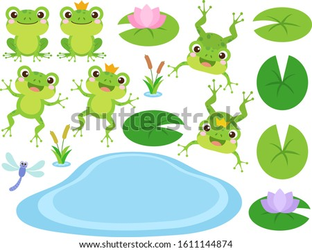Set of Cute Frog and Frog Prince cartoon characters. Vector illustration. Amphibian drawing. Happy frog sit and jump clip art, different pose, with pond, plants, dragonfly. Colorful graphic elements. ストックフォト ©