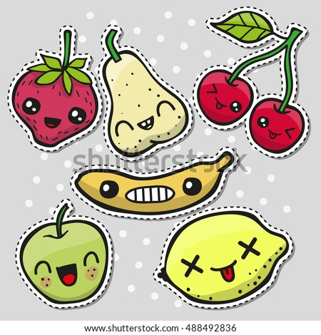 set of cute fruits pins or
