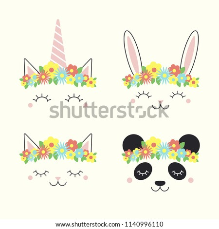 Set of cute funny animal, unicorn, bunny, cat, panda, faces in flower crowns. Isolated objects on white background. Hand drawn vector illustration. Line drawing. Design concept for children print.