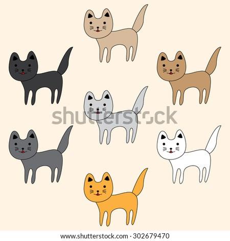 Set of cute funny  cats