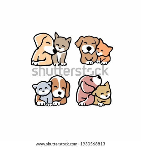 set of Cute funny cats and dogs logo Stock photo ©