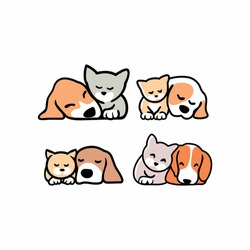 set of Cute funny cats and dogs logo,  pets cartoon collection. Furry human friends home animals