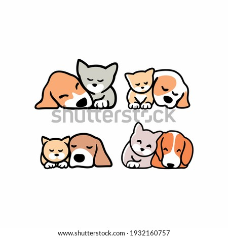set of Cute funny cats and dogs logo,  pets cartoon collection. Furry human friends home animals  Stock photo ©