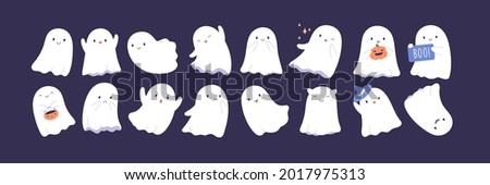 Set of cute funny happy ghosts. Childish spooky boo characters for kids. Magic scary spirits with different emotions and face expressions. Isolated flat cartoon vector illustrations of comic phantoms