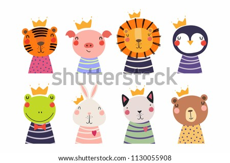 stock-vector-set-of-cute-funny-little-animals-in-crowns-cat-bear-lion-tiger-penguin-bunny-frog-pig