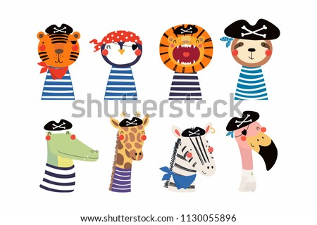 Set of cute funny little animals pirates lion, tiger, zebra, flamingo, penguin, sloth, giraffe, crocodile. Isolated objects on white. Vector illustration. Scandinavian style design. Concept kids print