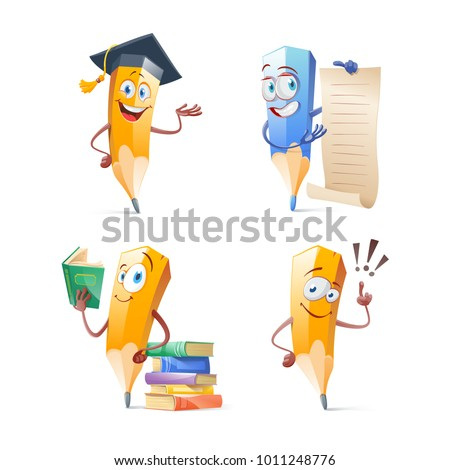 Set of cute funny pencil cartoon. Education concept