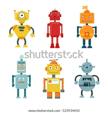 Set of cute funny robots on a white background. Vector illustration.