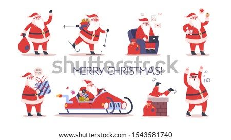 Set of cute funny Santa Claus in glasses celebrating Christmas and New Year. Happy Santa with bag and presents, skiing and having fun. Santa using a notebook. Modern Santa Claus. Flat illustration