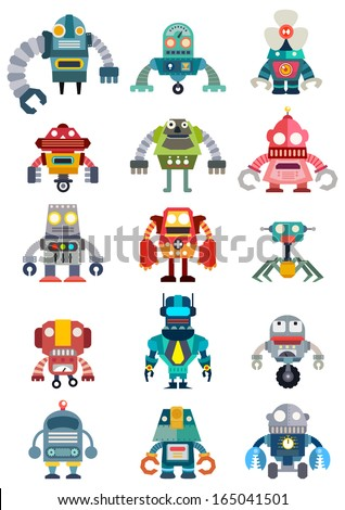 set of cute future robots
