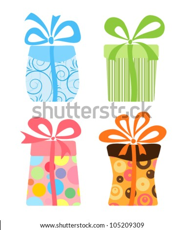 Set of cute gift boxes, vector