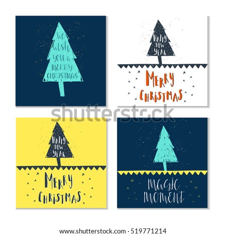 Set Of 4 Cute Gift Cards And Hand Drawn Christmas Lettering Can Be