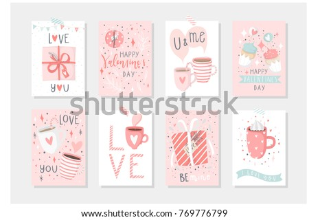 Set of 8 cute gift romantic postcards with penguins Gifts, hearts, cups and magic Vector printable collection of pink Valentine's Day card, invitation, poster in gentle colors template design