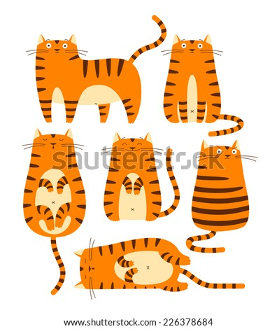 set of cute ginger cats