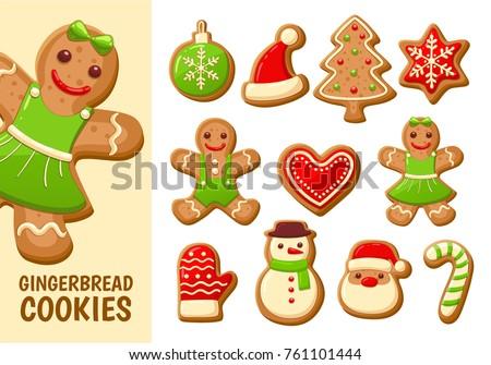 set of cute gingerbread cookies