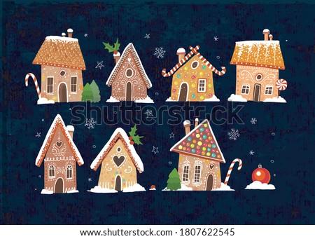 set of cute gingerbread houses