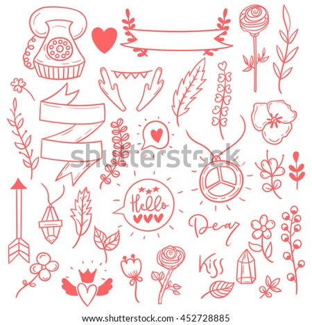 set of cute girly vector