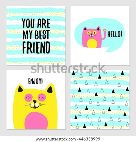set of cute greeting cards for
