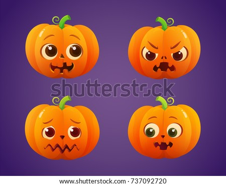 Cute Spooky Halloween Pumpkin Faces - Download Free Vector Art ...