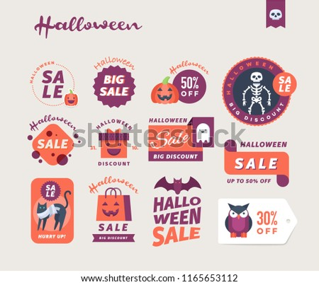 Set of cute Halloween sale promotional stickers, labels and banners. Vector illustration